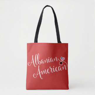Albanian American Entwined Hearts Grocery Bag