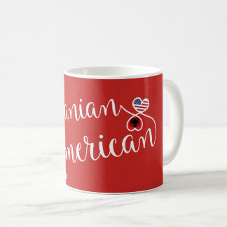 Albanian American Entwined Hearts Mug