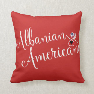 Albanian American Entwined Hearts Throw Cushion