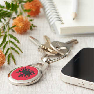 Albanian Coat of arms Silver-Colored Oval Keychain