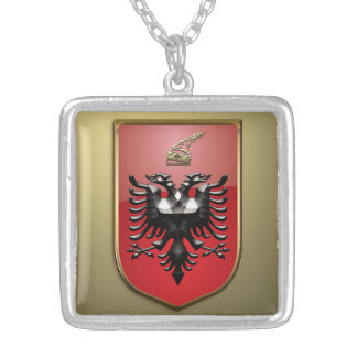Albanian Coat of arms Silver Plated Necklace