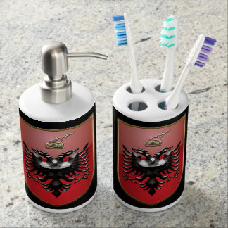 Albanian Coat of arms Soap Dispenser And Toothbrush Holder