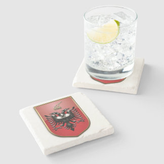 Albanian Coat of arms Stone Beverage Coaster