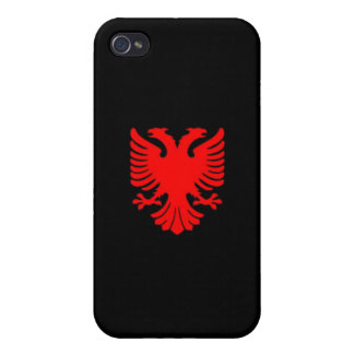 Albanian Eagle (Red on Black) iPhone 4 Case