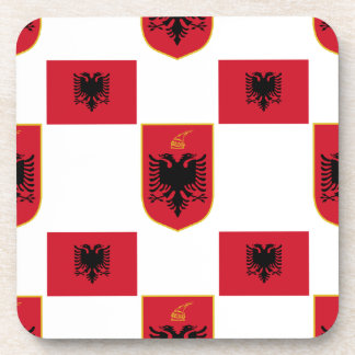 Albanian Flag and Crest Drink Coaster