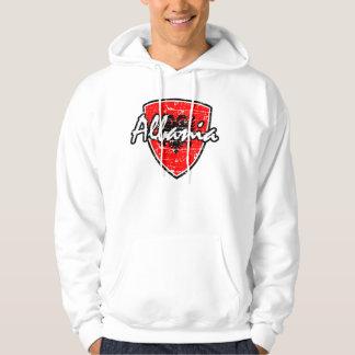 Albanian flag distressed design hoodie