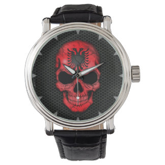 Albanian Flag Skull on Steel Mesh Graphic Wristwatches