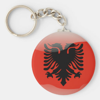 Albanian glossy flag basic round button keychain