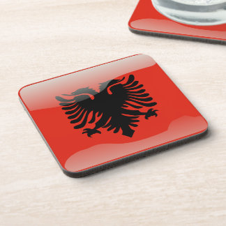 Albanian glossy flag beverage coaster