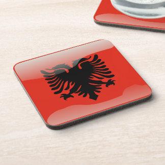 Albanian glossy flag coaster