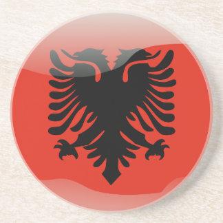 Albanian glossy flag coasters