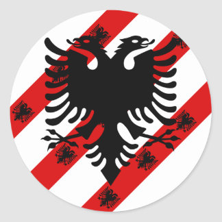 Albanian stripes flag classic round sticker