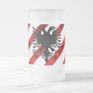 Albanian stripes flag frosted glass beer mug