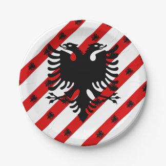 Albanian stripes flag paper plate