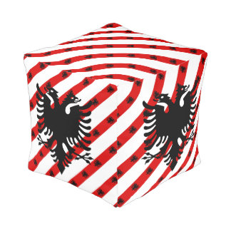 Albanian stripes flag pouf