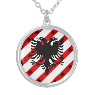 Albanian stripes flag silver plated necklace