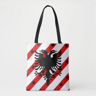 Albanian stripes flag tote bag