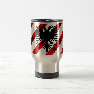 Albanian stripes flag travel mug