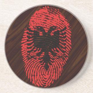Albanian touch fingerprint flag beverage coasters