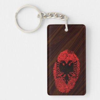 Albanian touch fingerprint flag Double-Sided rectangular acrylic keychain