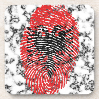 Albanian touch fingerprint flag drink coaster