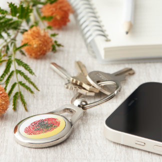 Albanian touch fingerprint flag Silver-Colored oval keychain