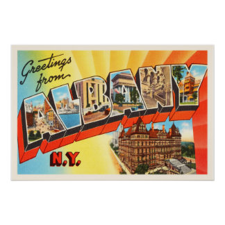 Albany New York NY Old Vintage Travel Souvenir Poster