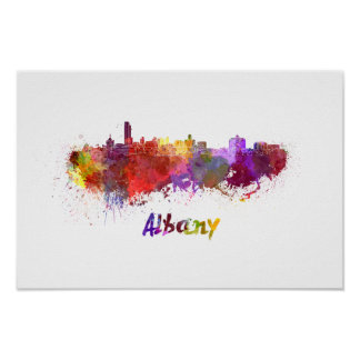 Albany skyline in watercolor poster
