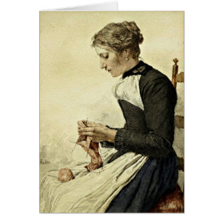 Albert Anker - Young Woman Knitting Card