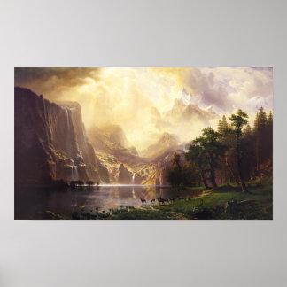 Albert Bierstadt dans l'affiche de montagnes Poster