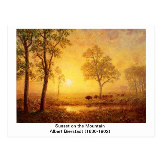 Albert Bierstadt - Sunset On The Mountain Postcard