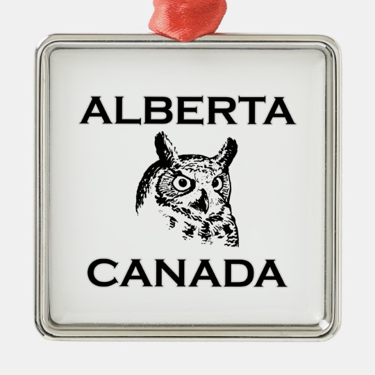 Alberta Canada Great Horned Owl Metal Ornament