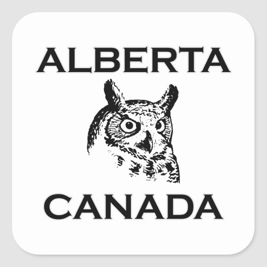 Alberta Canada Great Horned Owl Square Sticker