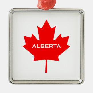 Alberta Canada Maple Leaf Metal Ornament