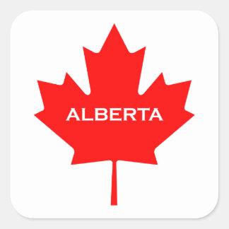 Alberta Canada Maple Leaf Square Sticker
