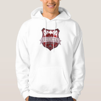 Alberta Canada red grunge shield guys hoodie