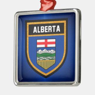 Alberta Flag Silver-Colored Square Ornament