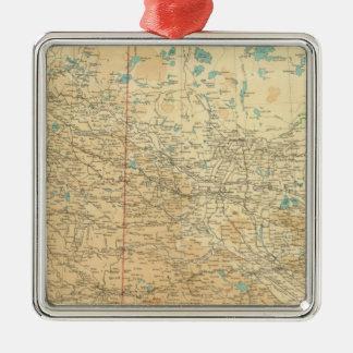 Alberta & Saskatchewan Silver-Colored Square Ornament