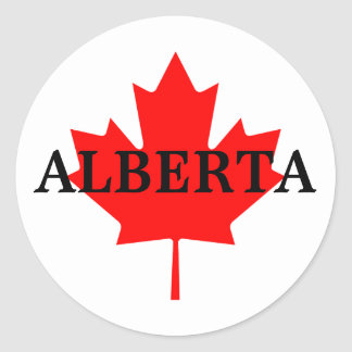 Alberta with Maple Leaf Classic Round Sticker
