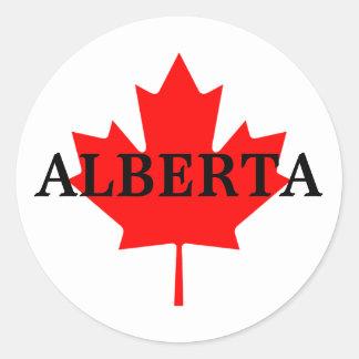 Alberta with Maple Leaf Round Sticker