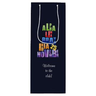 Albin 25 Phonetic Alphabet Wine Gift Bag