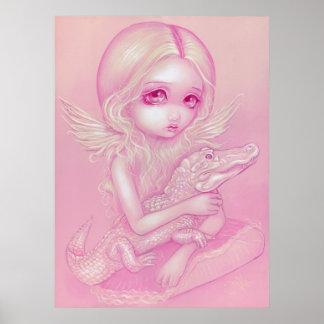 Albino Alligator Angel big eye lowbrow Art Print