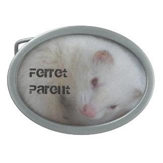 Albino Ferret Picture Oval Belt Buckles