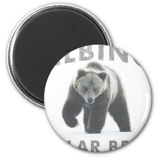 albino polar bear 2 inch round magnet
