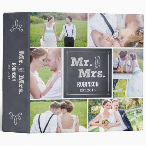 Album photos marqué à la craie de mariage de colla