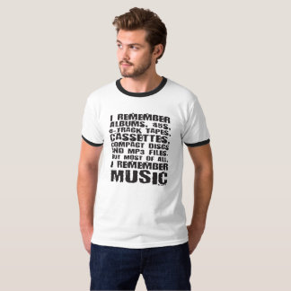 Albums, 45s, 8-Track Tapes Music Fan Tee Shirt