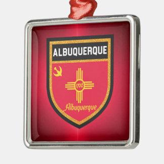 Albuquerque Flag Silver-Colored Square Ornament