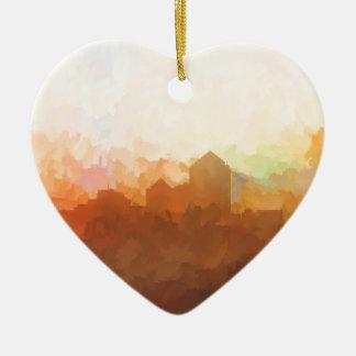 Albuquerque New Mexico Skyline IN CLOUDS Ceramic Heart Ornament