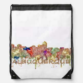 Albuquerque New Mexico Skyline SG Faded Glory Drawstring Bag