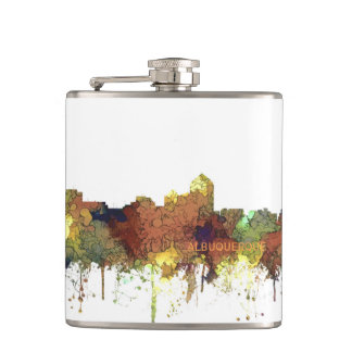 Albuquerque, NM Skyline - SG - Safari Buff Hip Flask
